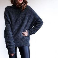 Oversized sweaters and leather pants all winter long. // Follow @ShopStyle on Instagram to shop this look