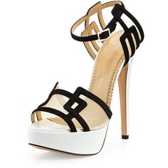 Charlotte Olympia Geometric Patent Leather Platform Sandal (10,195 EGP) ❤ liked on Polyvore featuring shoes, sandals, heels, pumps, high heels, high heel platform sandals, black and white sandals, ankle wrap sandals, black white sandals y ankle tie sandals