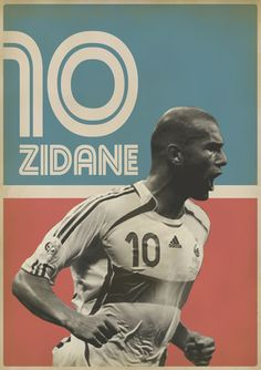 Retro Football poster - Zidane (before the headbutt) Art Football, Soccer Art, Soccer Poster, Retro Football, Poster S, France Football, Sports Graphics, Zinedine Zidane, Sports Stars