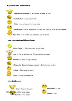 Exprimer ses sentiments et émotions French Education, French Phrases, Emotion, Les Sentiments, French Lessons, Expressions, Teaching French, Idioms, Grammar