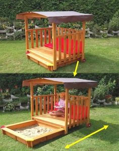 what a cool idea for a sand pit cover! Don't know how practical it would be. I would need it to be easy enough for my 3 year old to open himself!