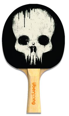 """Paint It Black"" ping pong paddle by Uberpong. Get yours here for only $25: http://www.uberpong.com/paint-it-black-ping-pong-paddle #halloween #pingpong #tabletennis #skull #giftidea #graphicdesign"