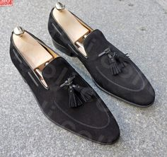 Handmade men fashion black suede leather formal shoes Men suede moccasins shoes