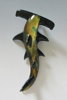 Hammerhead SHARK WEEK Glass Jewelry Lampwork by sanctuaryglass, $20.00