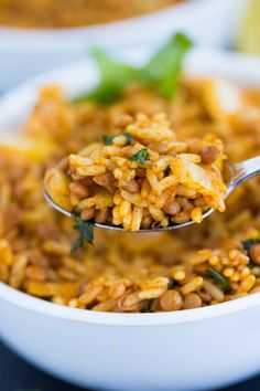 Curried Lentil Rice - Vibrant, spicy and healthy! This delicious side dish is perfect for a Meatless Monday or to serve with some chicken for a hearty meal.