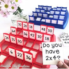 What a fun way to play and learn math facts! Use the game Guess Who? to teach addition, subtraction, multiplication and division! Easy to set up at home or in a math center. Learning Activities, Kids Learning, Activities For Kids, Kids Educational Games, Math Classroom, Classroom Activities, Future Classroom, Year 3 Classroom Ideas, Homeschool Math