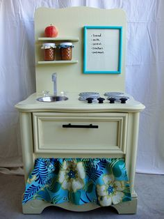 upcycled kids kitchen from an old nightstand