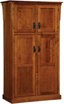 33% OFF Amish Furniture - Hand Crafted Shaker and Mission Furniture Online Outlet Store: 4 Door Mission Pantry: Oak