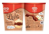 Kibon - Sorvetes Light - 1L - Sabores Baunilha com Chocolate e Baunilha com Morango - Sem Açúcar - Sugar Free