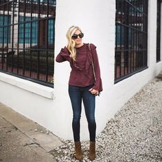 burgundy top, skinny jeans