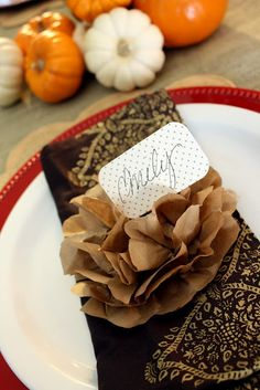 Paper flowers out of brown paper bag......easy....use for placecard markers.....gift wrapping.......
