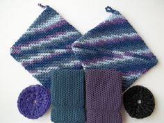 Dishcloth Gift Set by The Needle House BlueBerry Pie handmade $17.95