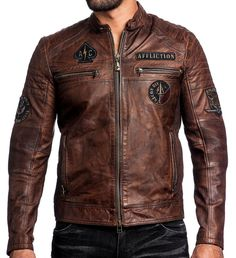 Affliction Black Premium - FATAL HOUR - Men's Leather Biker Jacket - NEW - Brown | Clothing, Shoes & Accessories, Men's Clothing, Coats & Jackets | eBay!