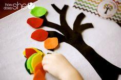 Fall felt busy bag ideas - trees, turkeys