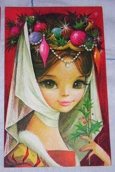 Big Eyed Girl Princess Vintage Christmas Card Unused Buzza Cardozo Fantasy | eBay