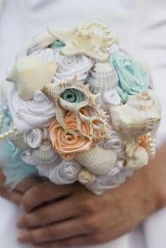 Beach Shell Bouquet, MADE TO ORDER, Sea Shell Bouquet, Destination Wedding, Beach Wedding, Under the Sea on Etsy, $65.00