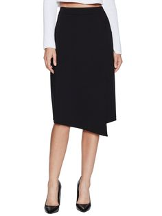 Ponte Faux Wrap Asymmetrical Skirt by PURE NAVY at Gilt
