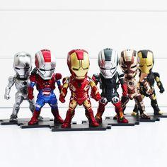 9cm Egg Attack Iron Man Light & Action Function 6pcs/set Iron Prtriot MK42 43 22 24 2 Action Figures Toys