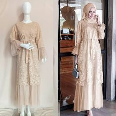Juliana dress PRICE Material: Premium Balotelli combination of lace and tiles Details: There are back buttons wit Dress Brokat Muslim, Dress Brokat Modern, Kebaya Modern Dress, Muslim Dress, Dress Brukat, Hijab Dress Party, Dress Outfits, Fashion Dresses, Kebaya Hijab