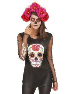 T-Shirt Skelett Dia de los Muertos für die Frau: Dieses T-Shirt ist mit langen, transparenten Ärmeln ausgestattet und passt perfekt für Erwachsene. Es ist in Schwarz gehalten und verfügt über einen farbigen Aufdruck und Ornamente an den...