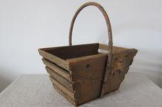French Vintage Slatted Garden Trug, wood basket with bent wood handle, provencal 1920's by LaVieEnPastis on Etsy