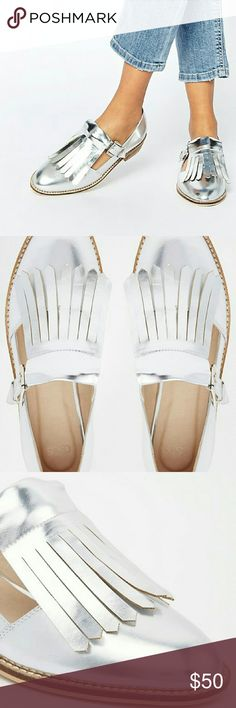 Silver Fringe Oxford Flats Cute Oxford fringe flats from ASOS. Metallic colored. NWOT. Make me an offer! ASOS Shoes Flats & Loafers
