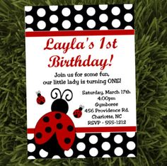 Ladybug Birthday Invites Ladybug by CutiesTieDyeBoutique on Etsy, $15.00