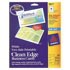 Avery Inkjet Two-Sided Printable Clean Edge Business Cards - White (200 Pack)