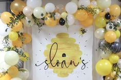 Bee theme birthday party backdrop Banner and balloon garland for bee themed first birthday First Birthday Themes, Baby Birthday, First Birthdays, Birthday Ideas, Bumble Bee Birthday, Bee Party, Baby Shower, Bee Theme, Backdrops For Parties