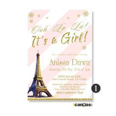 Eiffel Tower Baby Shower Invite. Paris Baby Shower Invitation. Boys - Girls Shower. French Theme Invite. Golden glitter Pink Stripes BS 173 by 800Canvas on Etsy