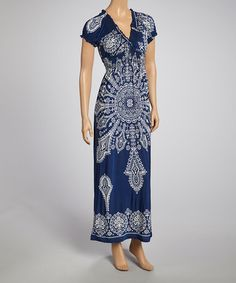 Another great find on #zulily! Navy Shirred Maxi Dress #zulilyfinds