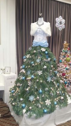 Dress Form Christmas tree we just finished.  So happy with how she turned out