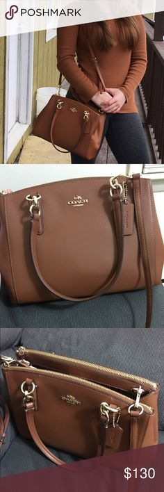 Mini Christie Coach Bag In great condition except for some slight discoloration/tears on the inside and a small pen mark on the side of the bag. Brown with gold hardware and an optional adjustable strap. Great bag! Coach Bags