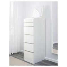 MALM white, mirror glass, Chest of 6 drawers, cm - IKEA 6 Drawer Chest, Drawer Unit, Chest Of Drawers, Drawer Pulls, Dresser Drawers, Ikea Jewelry Storage, Jewelry Organization, Organization Ideas, Ikea Malm Drawers