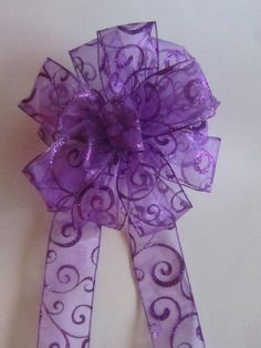 A PURPLE LACE CHRISTMAS BOW FOR A WREATH OR, ON THE CHRISTMAS TREE