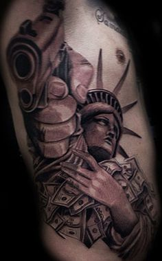 Grey Ink 3D statue Of Liberty With Gun Tattoo On Side Rib