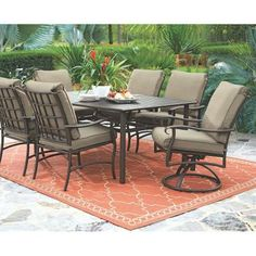 Home Decorators Collection Gabriel Espresso Bronze 7 Piece Patio Dining Set  With Beige Cushions
