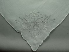Vintage Ladies Embroidered Handkerchief with a by Allyssecondattic, $8.00