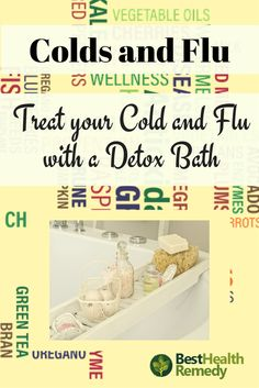 A RELAXING DETOX BATH. Not only is good for the symptoms of both the cold and flu but also great for sore and tired muscles, fatigue, headaches. #coldandflu, #naturalhealing, #remedy, #health, #healyourself, #detoxbath, colds and flu, cold or flu, relaxing bath, healing bath salts, detox your body, epsom salt, homemade bath bombs, healing detox bath, cold and flu remedies, natural remedies for colds and flu