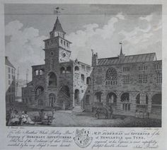 Print - To Sir Matthew White Ridley Bart M.P.Alderman and Governor of the Company of Merchant Adventurers of Newcastle upon Tne, This View of the Exchange of that Town, engraved at his expense, is most respectfully inscribed by his very obliged & most devoted faithful humble servant, John Brand - Fittler