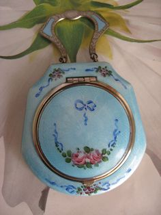 Vintage Blue Guilloche Enameled Floral Design Art Deco Compact with Finger Ring or Chatelaine