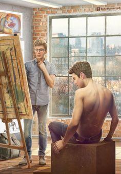 Art student!Steve and life model!Bucky