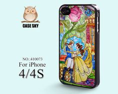 iPhone 4 Case, iPhone 4S Case, Beauty and Beast, Rose Glass, Disney  iPhone Case, Plastic Phone Cases Case for iPhone -410073