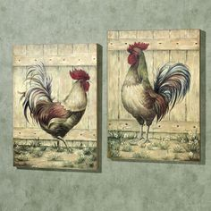 $65.75-Royale Rooster Wall Art Plaque Set 16 X 22