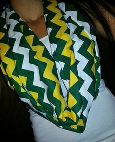 Green Bay Packers Chevron Infinity Scarf Green Gold White Yellow $15