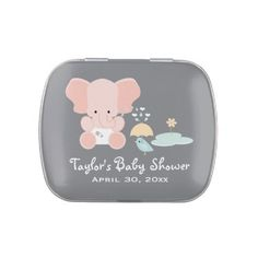 #Babyshower   Pink Elephant and Bird Baby Shower Jelly Belly Bean Candy Tin Favor.  $7.50