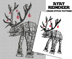 Star Wars ATAT Reindeer Cross Stitch Pattern. A great project for the holidays and it's an instant download!