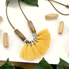 Yellow tassels necklace big yellow fan necklace yellow