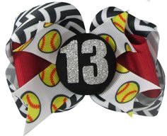Softball Bow-Hair Bow Clip or Ponytail Holder by BlingBossApparel Bow Clip, Bow Hair Clips, Hair Bows, Sport Hair, Red Chevron, Christmas Gifts For Girls, Ponytail Holders, Softball, Your Hair