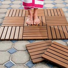 ORVIS: Snap these hardwood tiles together for any number of flooring options. Ideal for outdoors, but these interlocking tiles are equally functional indoors for bath or mudroom. Pretreated, kiln-dried, extremely durable and decay resistant.